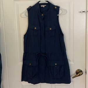 Maison Jules Blue Button Down Dress